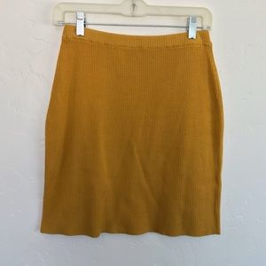 Newport News Mustard Ribbed Mini Skirt Medium